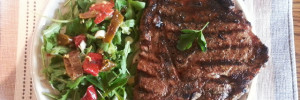 BBQ T-bone Steak Served with some Fresh Vegetables
